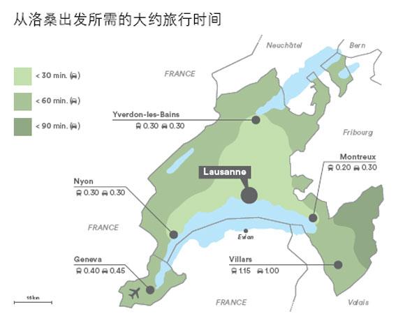 瑞士日内瓦湖区洛桑周边交通示意图